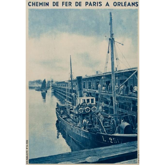 Affiche ancienne rail - Clichet Auclair-Melot - Port de pèche de Lorient - 98 - 61 cm - Vue 2