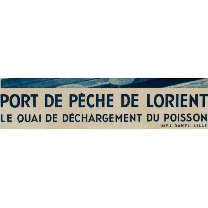 Affiche ancienne rail - Clichet Auclair-Melot - Port de pèche de Lorient - 98 - 61 cm - Vue 3
