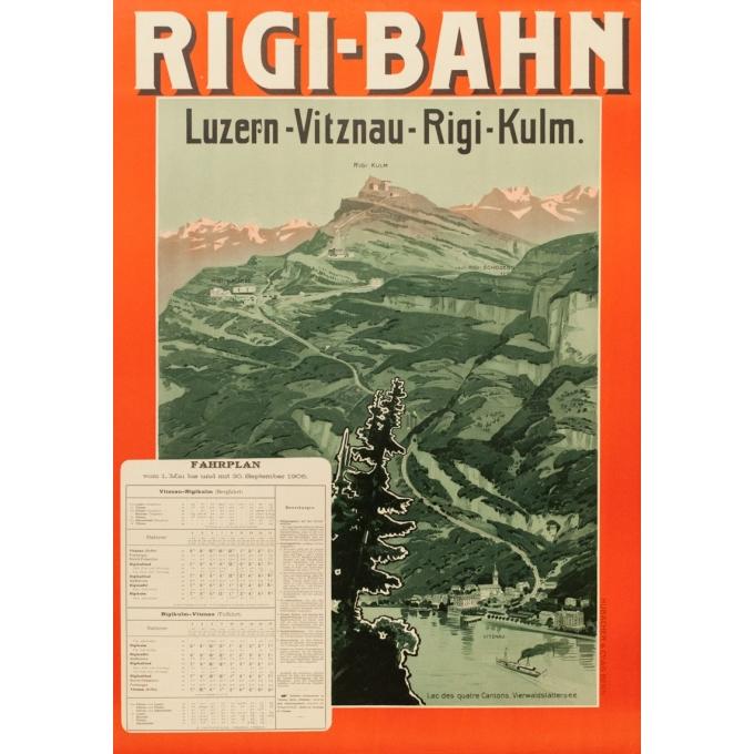 Affiche ancienne de voyage - 1906 - Rigi-Bahn - 91 par 64 cm