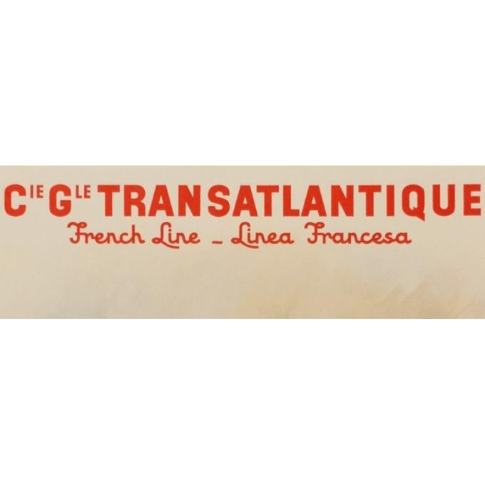 Affiche ancienne voyage - Albert Brenet - Cie Gle Transatlantique - 1950 - French Line - Vue 2