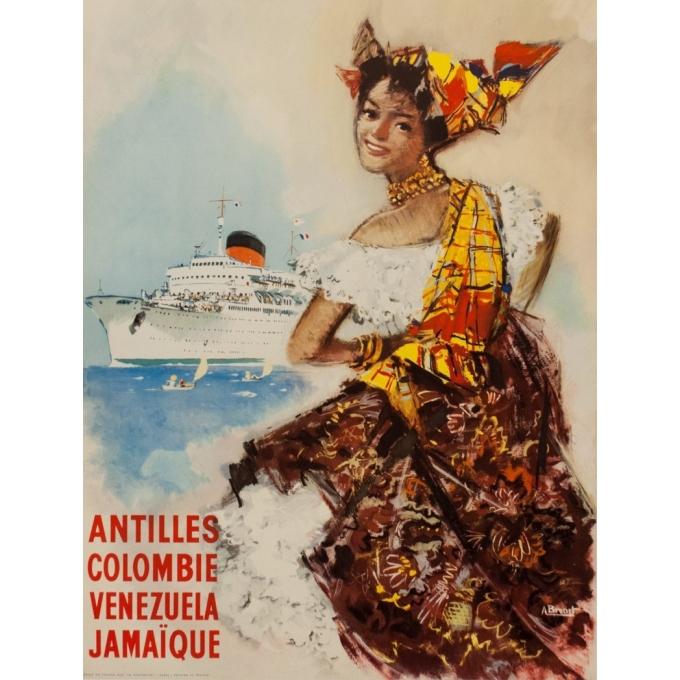 Affiche ancienne voyage - Albert Brenet - Cie Gle Transatlantique - 1950 - French Line - Vue 3