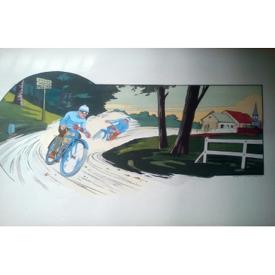 Poster Montaut collection - Cycles Motos ALCYON 1914 - Lithograph originale. Elbé Paris.