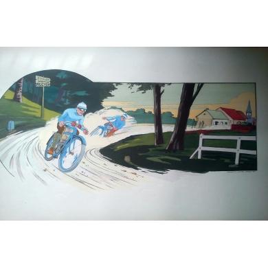 Affiche collection Montaut - Cycles Motos ALCYON 1914 - Lithographie originale. Elbé Paris.