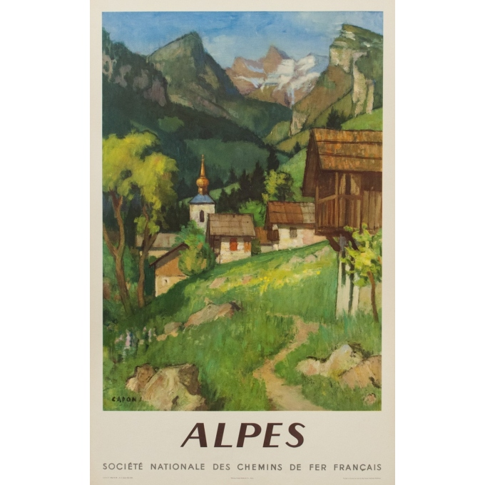Vintage travel poster - Alpes France - SNCF - Capon - 1956 - 39.37 by 24.41""