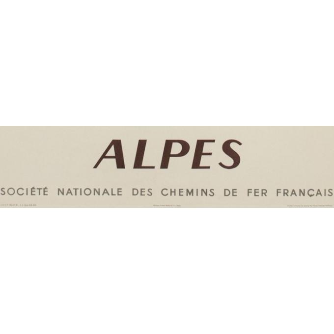 Affiche ancienne de voyage - Alpes - SNCF - Capon - 1956 - 100 par 62 cm - Vue 3