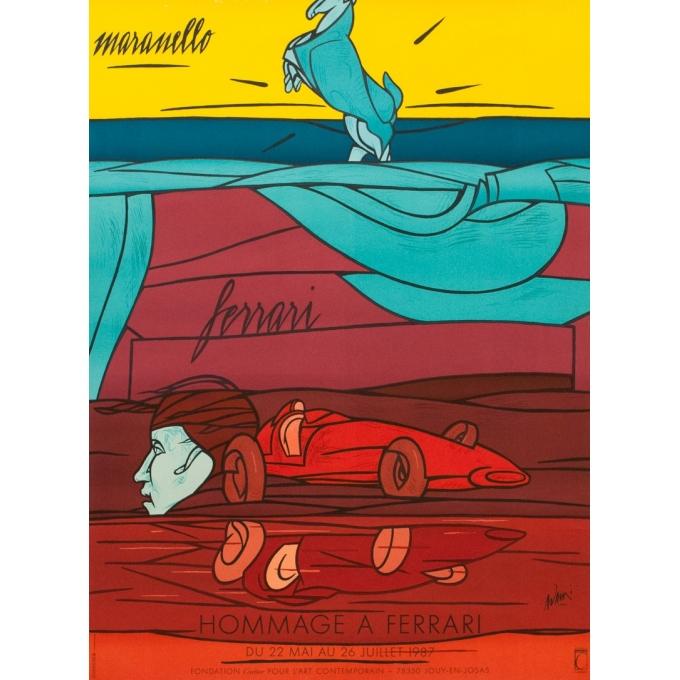 Sérigraphie originale Adami - 1987 - Hommage à Ferrari - 90 par 67 cm