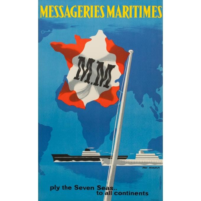 Affiche ancienne voyage - Jean Desaleux - 1955 - Messagerie Maritime - 100 par 62.5 cm