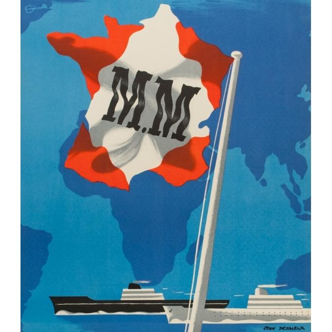 Affiche ancienne voyage - Jean Desaleux - 1955 - Messagerie Maritime - 100 par 62.5 cm - vue 2
