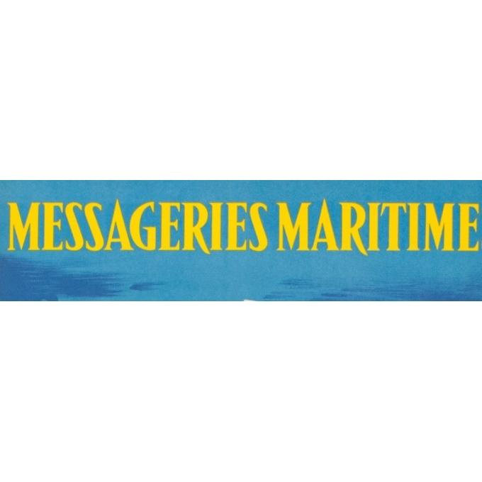 Affiche ancienne voyage - Jean Desaleux - 1955 - Messagerie Maritime - 100 par 62.5 cm - vue 4
