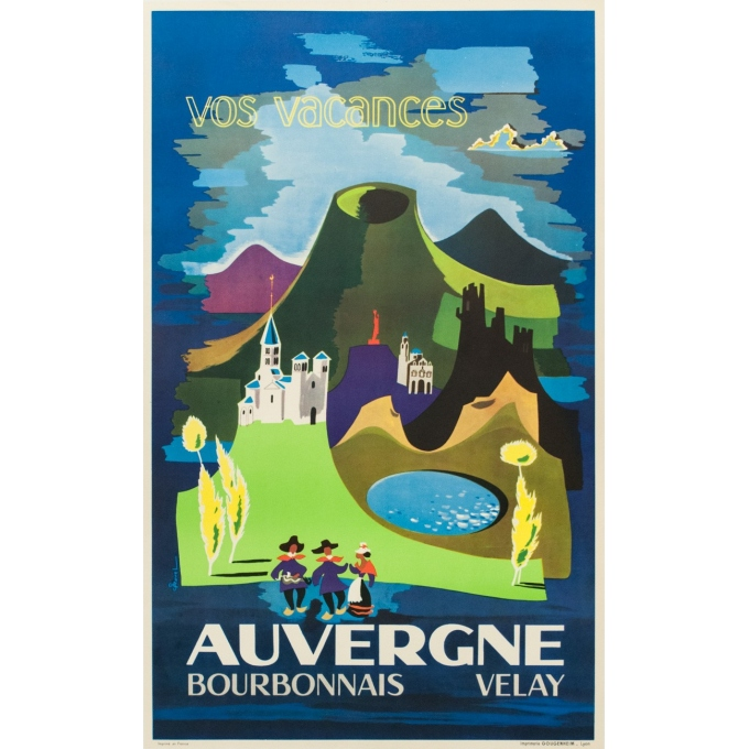 Vintage french travel poster - J.Ravel - 1960 - Auvergne - 39.96 by 24.41 inches
