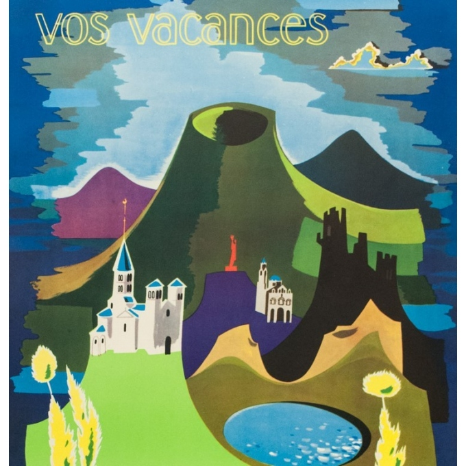 Vintage french travel poster - J.Ravel - 1960 - Auvergne - 39.96 by 24.41 inches - view 2