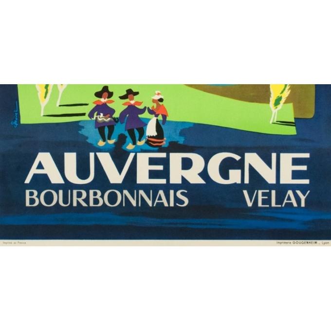 Affiche ancienne voyage - J.Ravel - 1960 - Auvergne - 101.5 par 62 cm - Vue 3