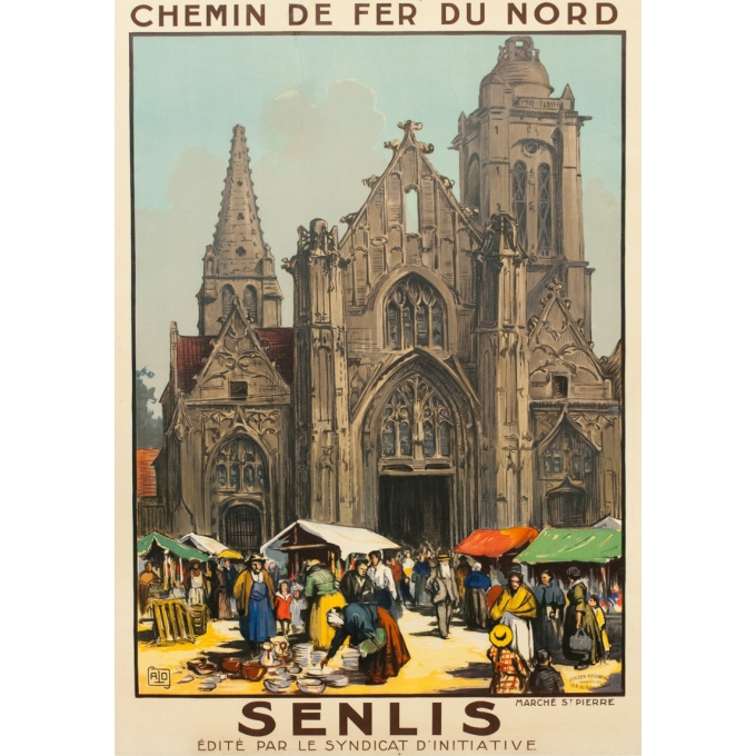 Vintage french travel poster - Charles Hallaut - 1920 - Senlis - 41.14 by 29.13 inches