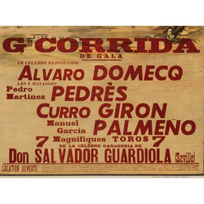 Affiche ancienne - J.Reuz - 1963 - Grande Corida de Gala - 105.5 par 52.5 cm - Vue 3
