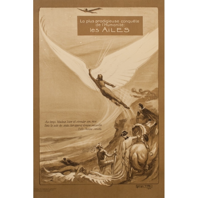 Affiche ancienne publicité - Georges Villa - 1922 - Les Ailes - 114.5 par 75 cm
