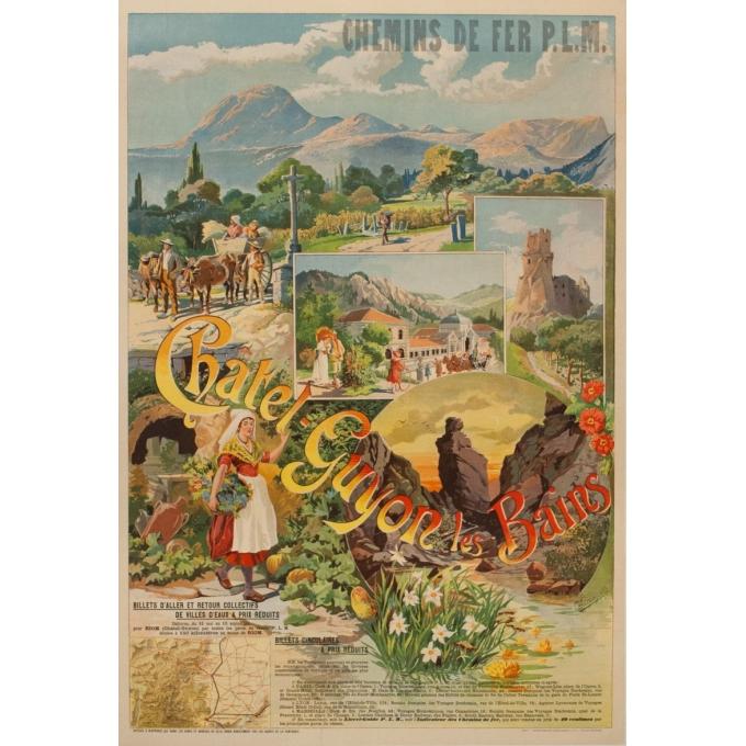Affiche ancienne de voyage - Tanconville - Chatel Guyon les Bains - 1898 - 108 par 74 cm