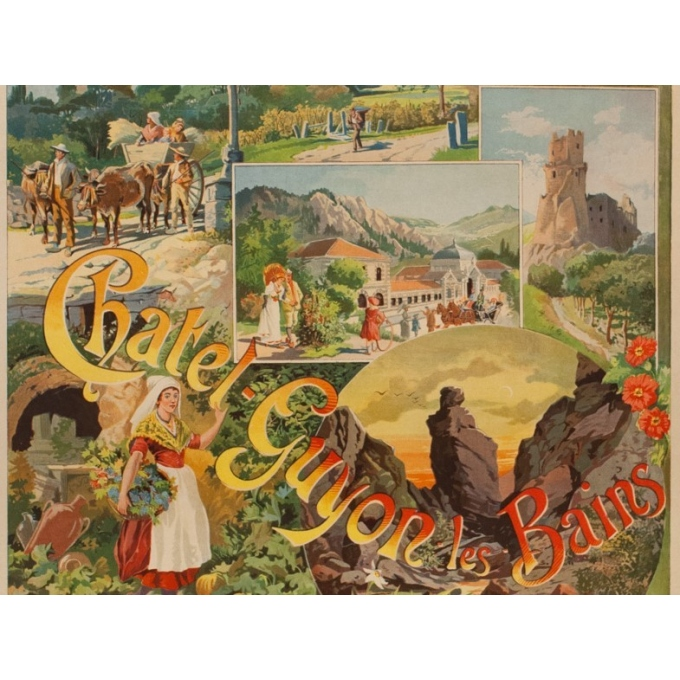 Affiche ancienne de voyage - Tanconville - Chatel Guyon les Bains - 1898 - 108 par 74 cm - Vue 3