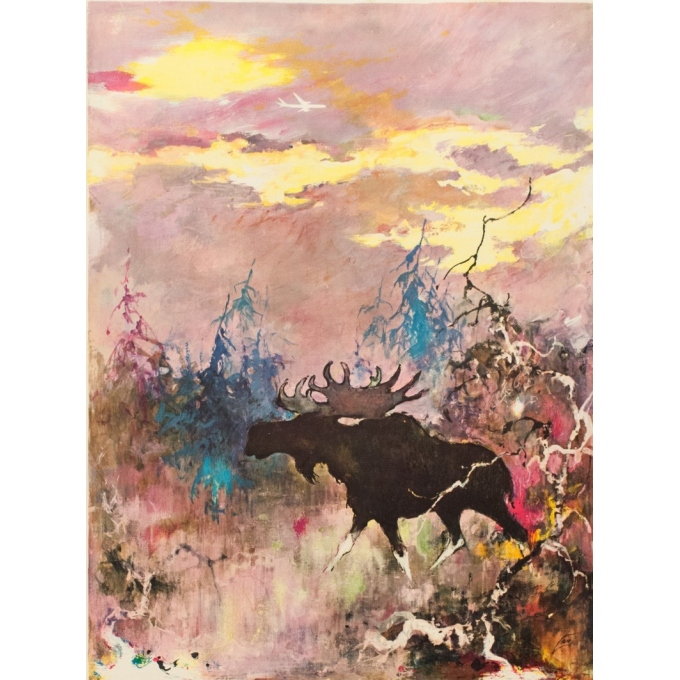 Vintage travel poster - SAS - Moose - Nielsen - 1965 - 39.37 by 25 inches - View 2