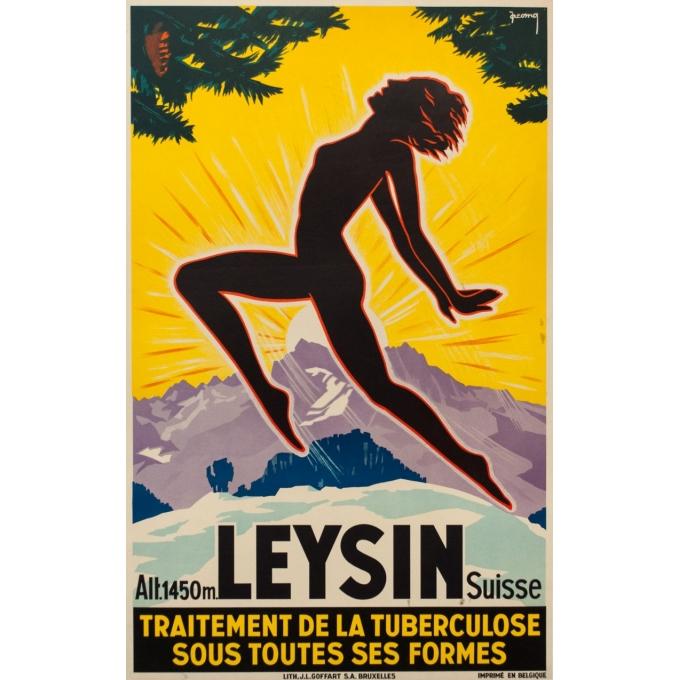 Affiche ancienne publicité - Jacomo - 1930 - Leysin Suisse - 100 par 62.5 cm