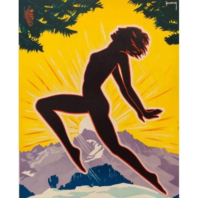 Affiche ancienne publicité - Jacomo - 1930 - Leysin Suisse - 100 par 62.5 cm - Vue 2