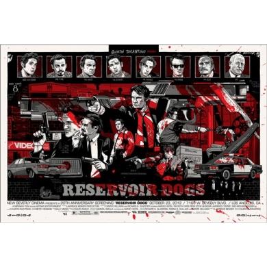 Affiche sérigraphie Tyler Stout - Reservoir dogs. Elbé Paris.