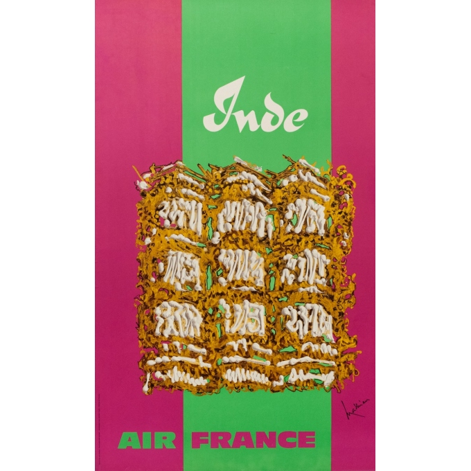 Vintage travel poster - Air France India - Georges Matthieu - 1967 - 39.37 by 23.62 inches