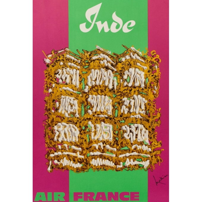 Vintage travel poster - Air France India - Georges Matthieu - 1967 - 39.37 by 23.62 inches - View 2
