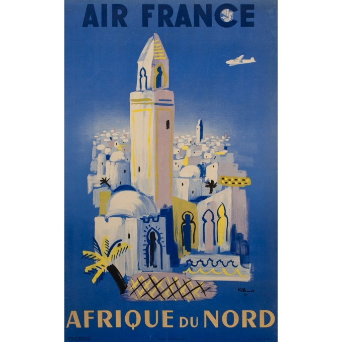 Vintage travel poster - Air France Afrique du Nord - Villemot - 1952 - 39.17 by 24.80 inches