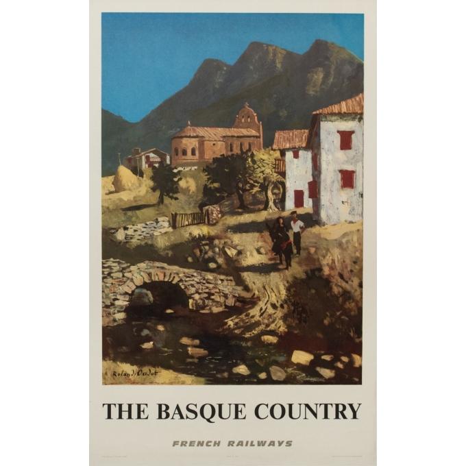 Affiche ancienne de voyage - The Basque Country - Rolland Oudot - 1968 - 99.5 par 62 cm