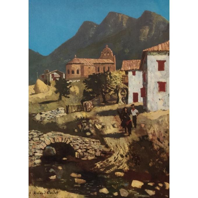 Affiche ancienne de voyage - The Basque Country - Rolland Oudot - 1968 - 99.5 par 62 cm - Vue 2