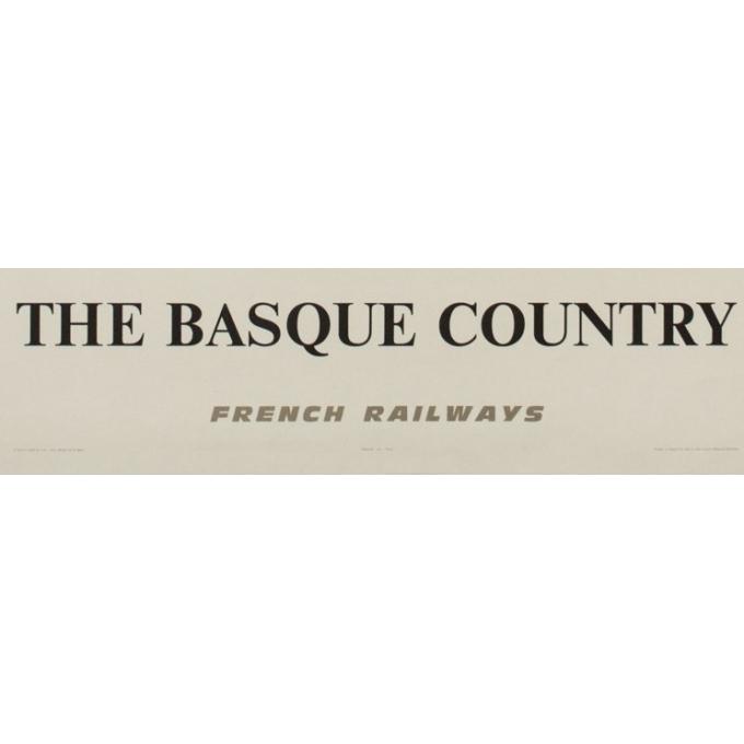 Affiche ancienne de voyage - The Basque Country - Rolland Oudot - 1968 - 99.5 par 62 cm - Vue 3
