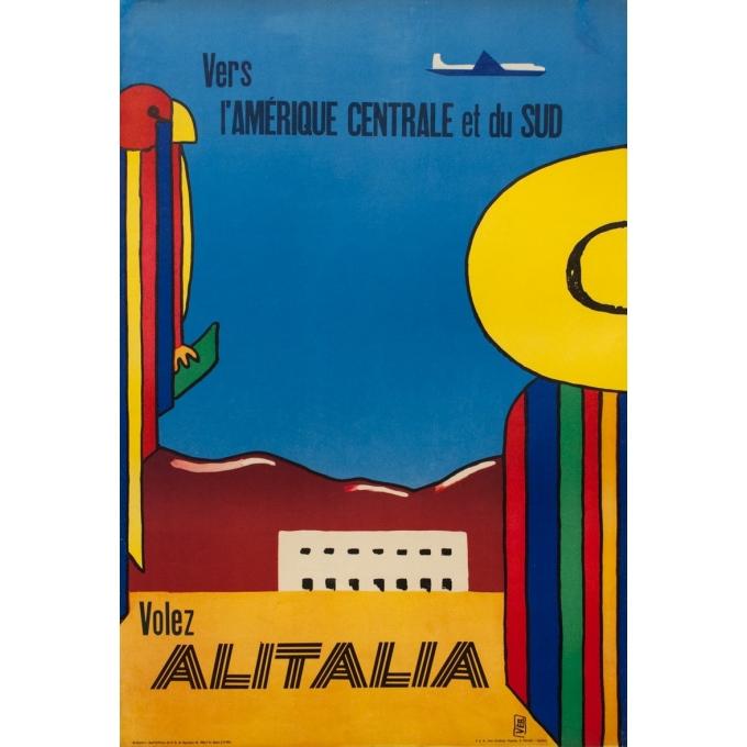 Affiche ancienne de voyage - Alitalia Amérique Centrale et du Sud - 1965 - 100 par 68.5 cm