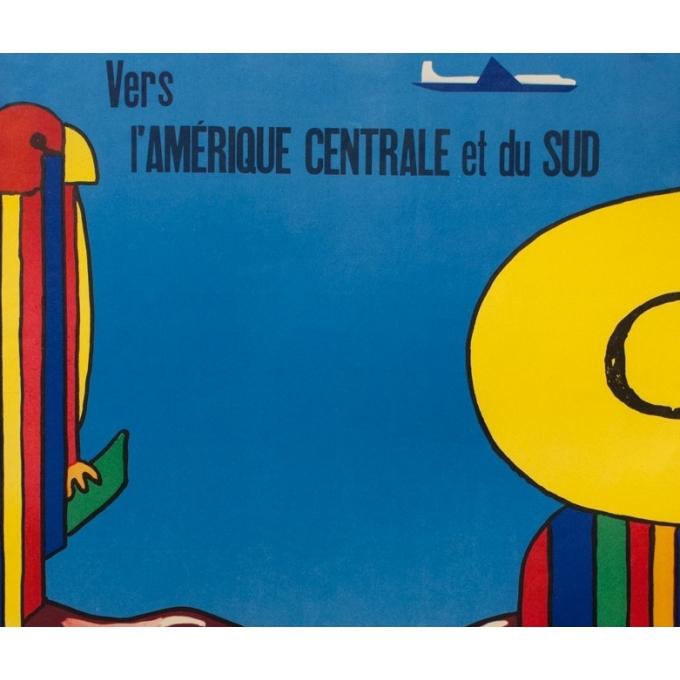 Affiche ancienne de voyage - Alitalia Amérique Centrale et du Sud - 1965 - 100 par 68.5 cm - Vue 2