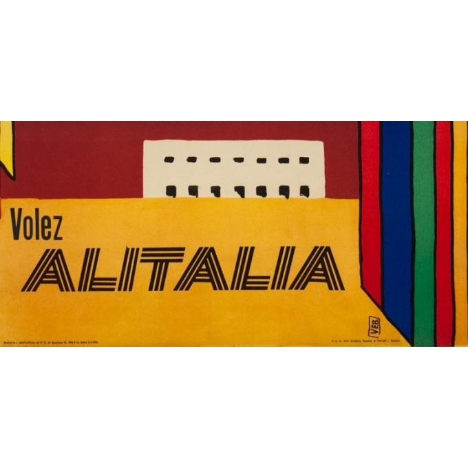 Affiche ancienne de voyage - Alitalia Amérique Centrale et du Sud - 1965 - 100 par 68.5 cm - Vue 3