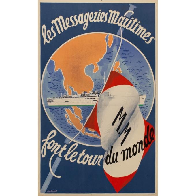 Affiche ancienne de voyage - Les Messageries Maritimes - Antral - 1955 - 98 par 61 cm
