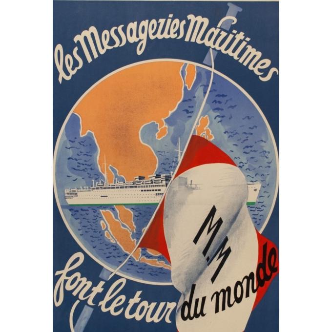 Affiche ancienne de voyage - Les Messageries Maritimes - Antral - 1955 - 98 par 61 cm - Vue 2