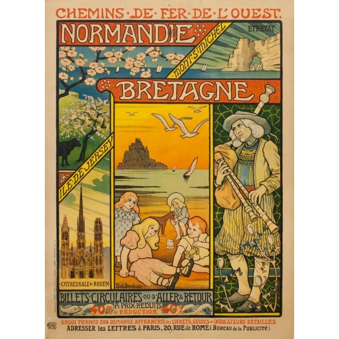 Affiche ancienne de voyage - Paul Berthon - 1897 - Chemins de fer de l'ouest - normandie bretagne - 110.5 par 81 cm