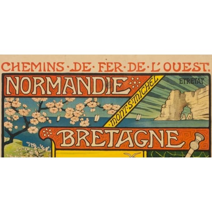 Affiche ancienne de voyage - Paul Berthon - 1897 - Chemins de fer de l'ouest - normandie bretagne - 110.5 par 81 cm - Vue 2