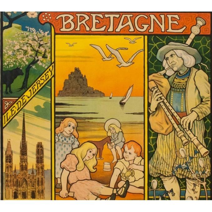 Affiche ancienne de voyage - Paul Berthon - 1897 - Chemins de fer de l'ouest - normandie bretagne - 110.5 par 81 cm - Vue 3