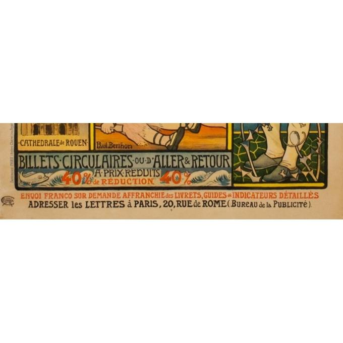 Affiche ancienne de voyage - Paul Berthon - 1897 - Chemins de fer de l'ouest - normandie bretagne - 110.5 par 81 cm - Vue 4