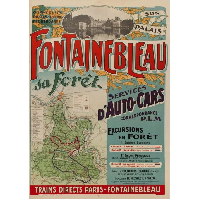 Affiche ancienne de tourisme - A.D - 1920 - Fontainebleau son palais et sa forêt - 116.5 par 76 cm