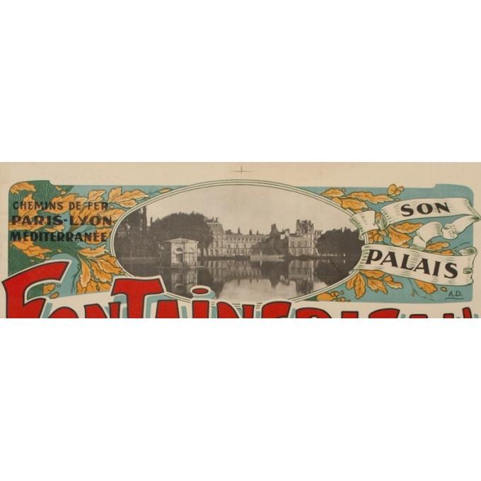 Affiche ancienne de tourisme - A.D - 1920 - Fontainebleau son palais et sa forêt - 116.5 par 76 cm - Vue 2