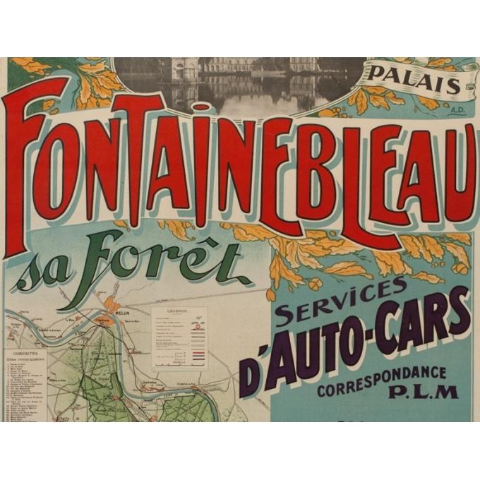 Affiche ancienne de tourisme - A.D - 1920 - Fontainebleau son palais et sa forêt - 116.5 par 76 cm - Vue 3
