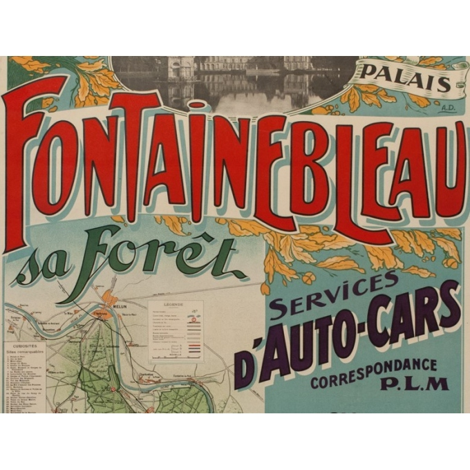 Vintage french travel poster - A.D - 1920 - Fontainebleau son palais et sa forêt - 45.87 by 29.92 inches - View 3