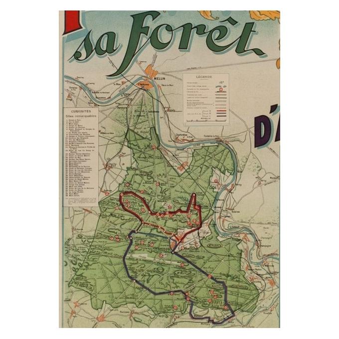Affiche ancienne de tourisme - A.D - 1920 - Fontainebleau son palais et sa forêt - 116.5 par 76 cm - Vue 4