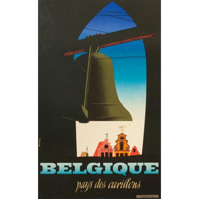 Affiche ancienne tourisme - Richez - 1950 - Belgique pays des carillons - 100 par 62 cm