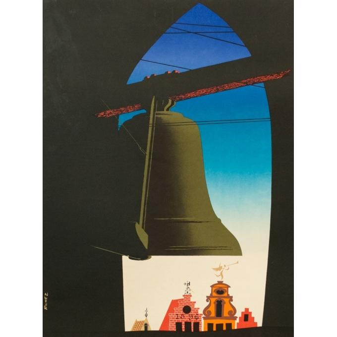 Affiche ancienne tourisme - Richez - 1950 - Belgique pays des carillons - 100 par 62 cm - Vue 2