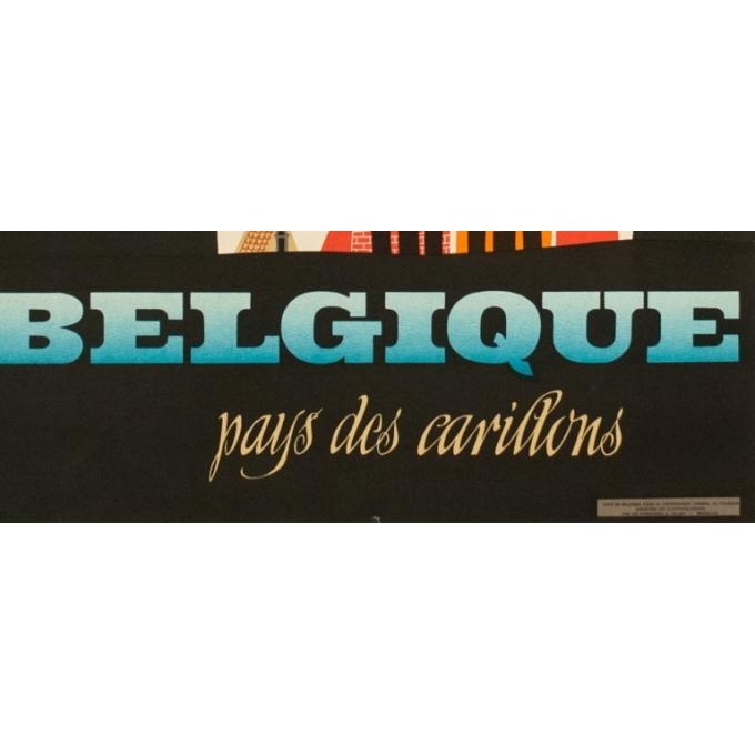 Affiche ancienne tourisme - Richez - 1950 - Belgique pays des carillons - 100 par 62 cm - Vue 3