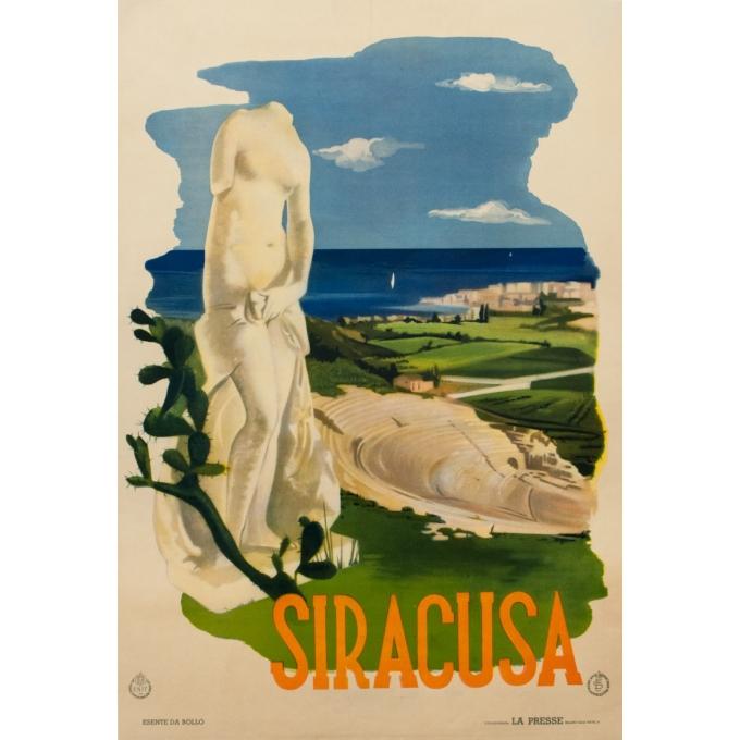 Affiche ancienne de voyage - Siracusa - 1950 - 98 par 67 cm