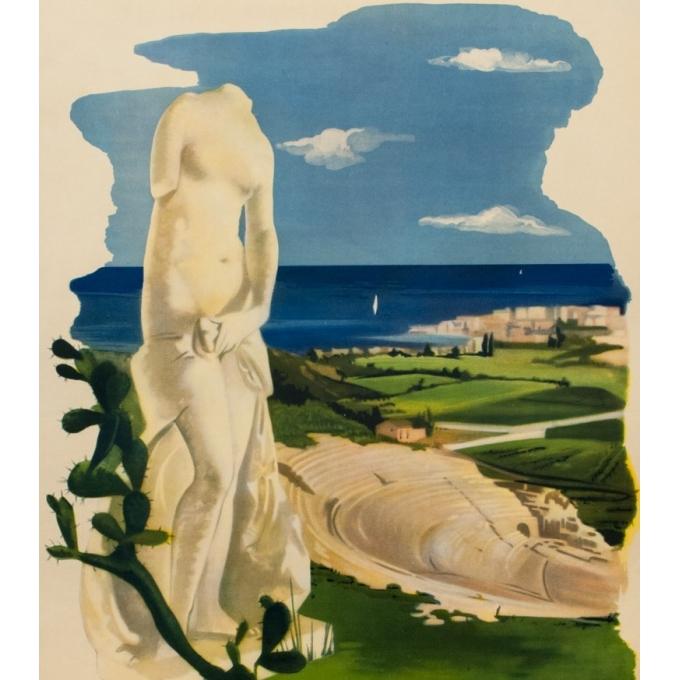 Affiche ancienne de voyage - Siracusa - 1950 - 98 par 67 cm - Vue 2